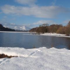 Loch Lomond private beach in winter