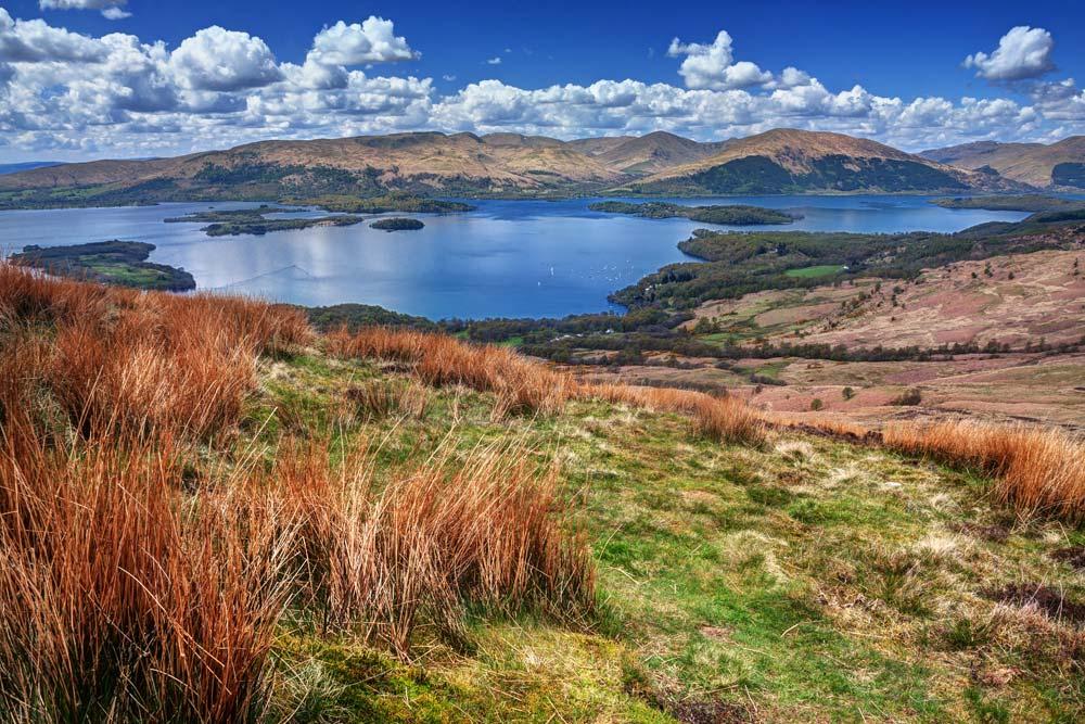 Loch Lomond from above showing narrow shape of loch