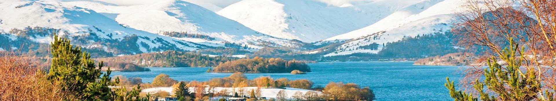 snowy hills around Loch Lomond in winter