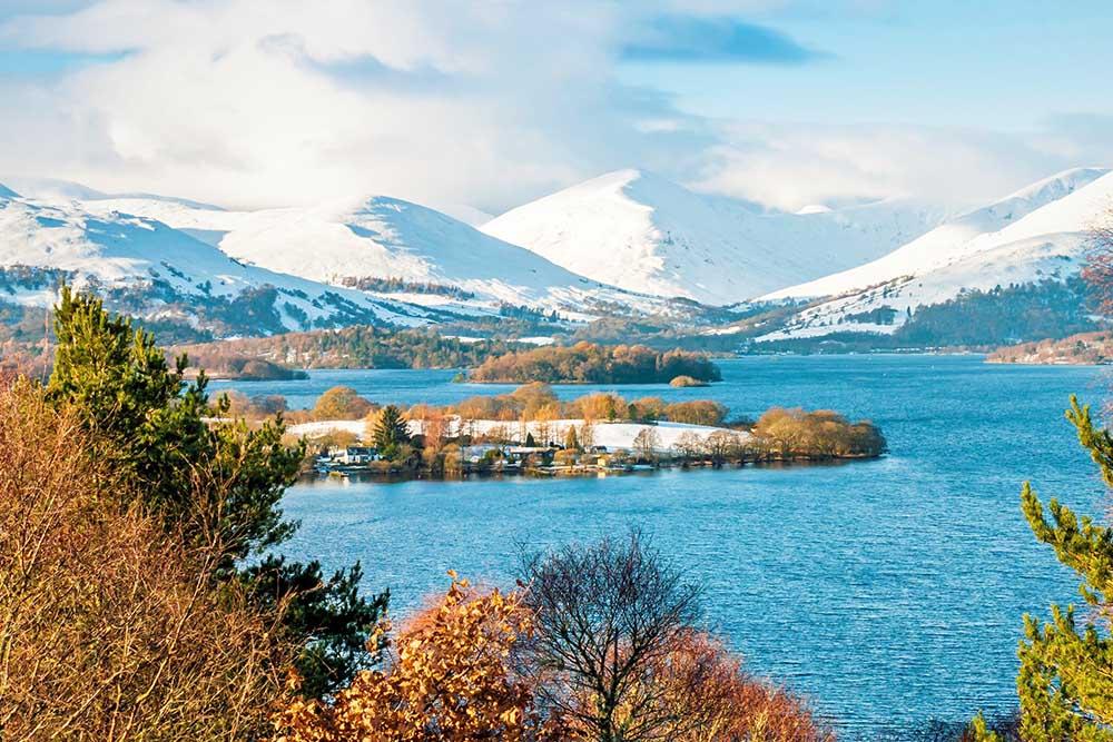 snow on the mountains around Loch Lomond
